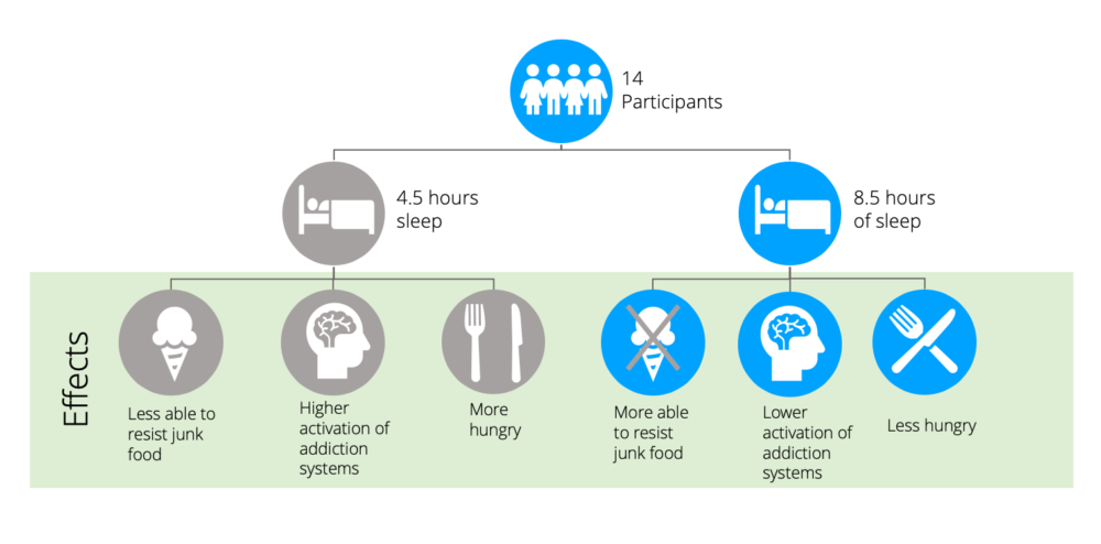 The different effects of 4.5 and 8.5 hours of sleep on hunger, cravings and brain reward system activation.