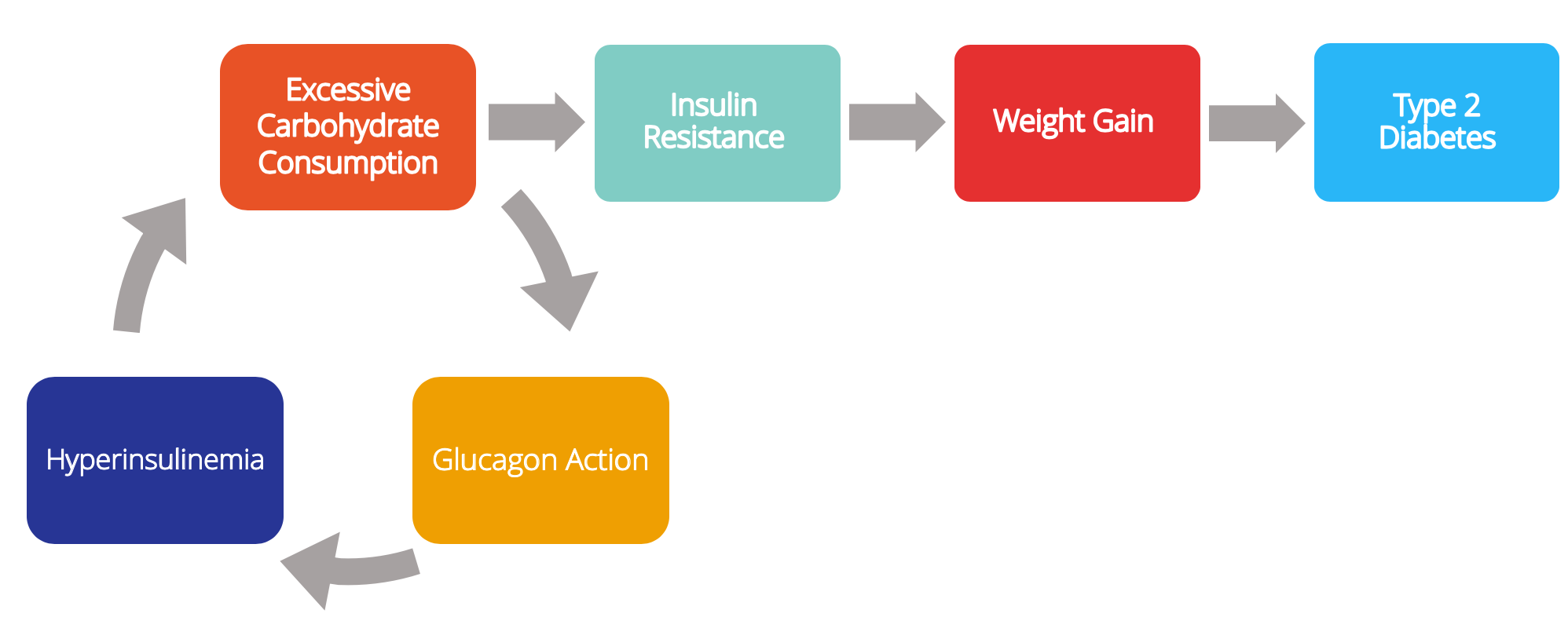 Suggested cycle of how type 2 diabetes develops.