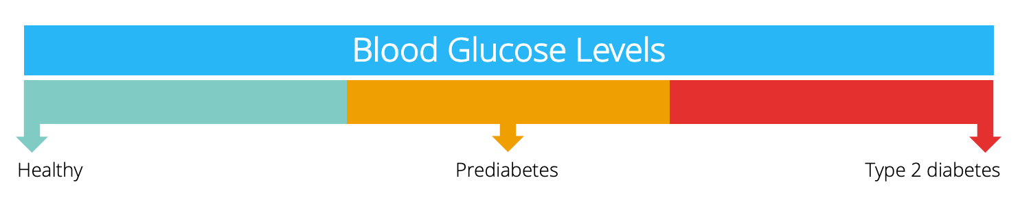 Continuum of blood glucose levels, ranging from healthy to type 2 diabetes.