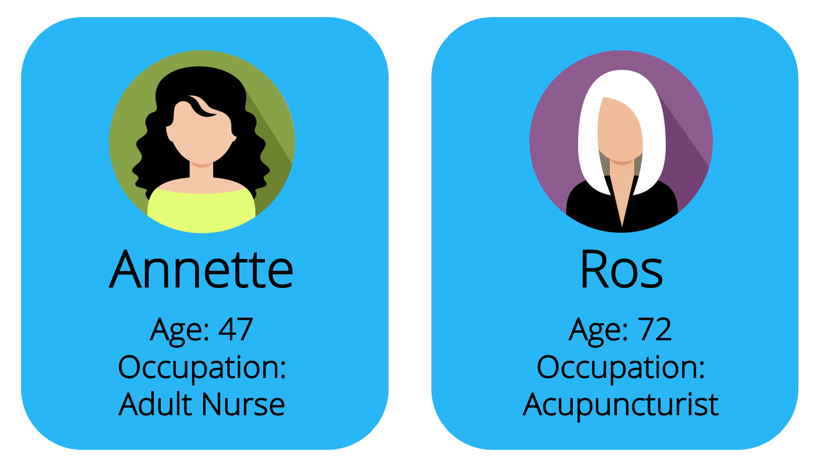 Profile cards for three different women, showing name, age and occupation.