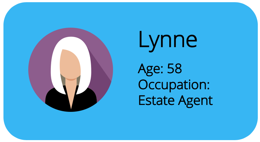 Profile card for Lynne, with age, name, and occupation on it.
