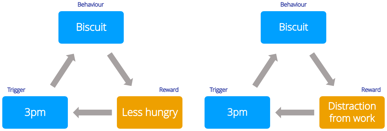 Focus on the reward part of the habit loop.