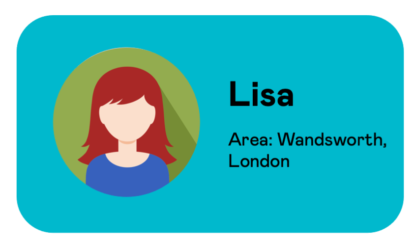 User information card for Lisa from Wandsworth