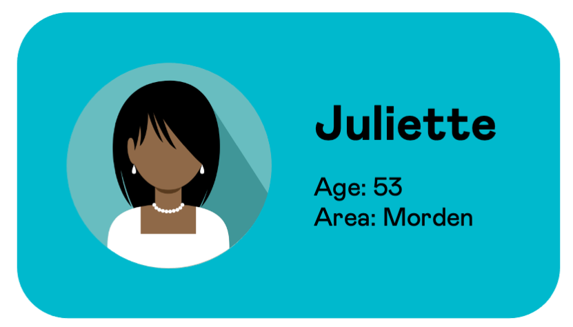 User information card for Juliette, aged 53, from Morden