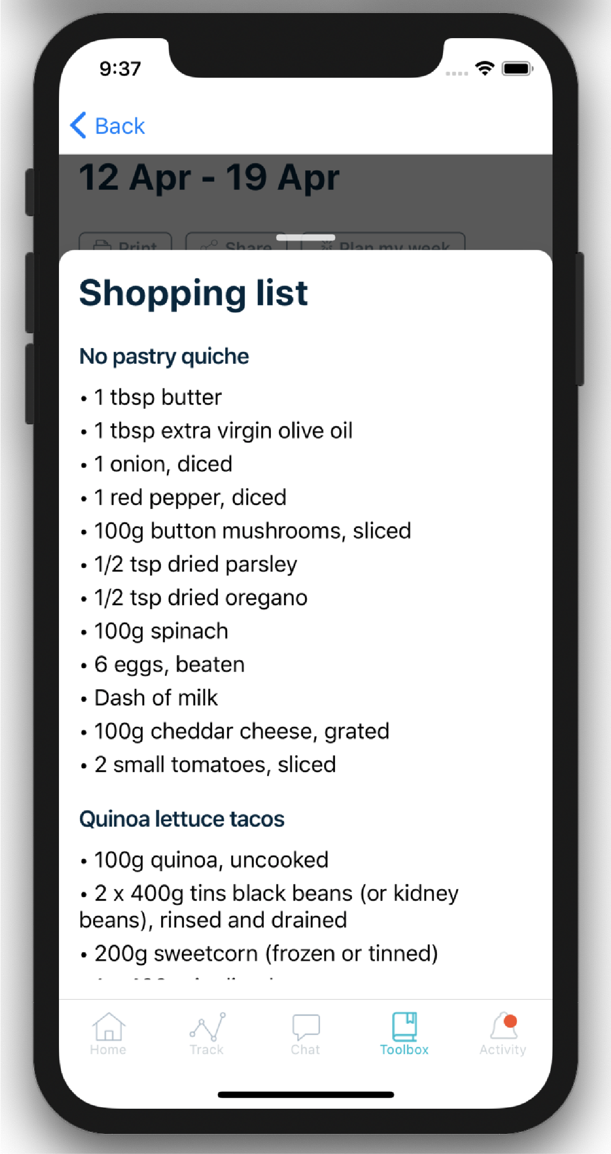Screenshot of the Second Nature shopping list tool